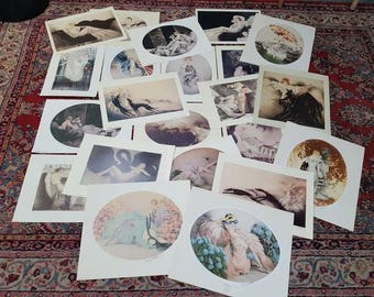 Vintage 22 different Art Deco polychrome etchings prints from LOUIS ICART circa 1975