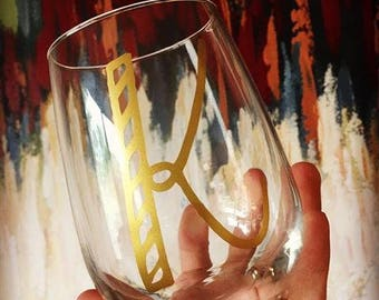 Custom Initial wine glass, gift, custom color of vinyl available