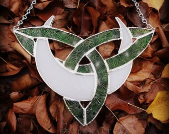 Celtic Knot Moon Stained Glass Suncatcher