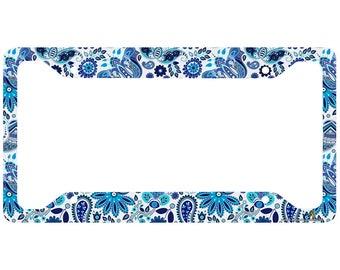 Blue Daisy License Plate Frame, Paisley Floral Car Tag Frame, License Plate Holder, Cute Decorative License Plate Frame-30-764