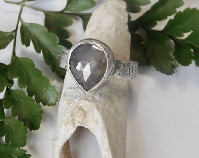 Rustic Pear Sapphire Ring #2