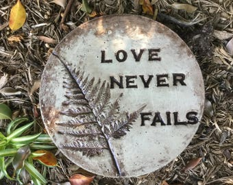 "12 in. Concrete "" Love Never Fails"" stepping stone/garden stone/garden art"