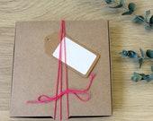 Boite cadeau kraft - Boite à remplir - Boite kraft carrée - Idée cadeau - Kraft - Recyclable - réutilisable -Boite carrée -Boite à couvercle