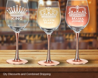 Royalty 14oz Copper Stem Wine Glass Crown w/ Title and/or Custom Text (6+ Styles)