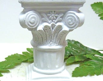 Pillar Column Pedestal Miniature Pillar, Dollhouse Miniature Pillar, Plant Pedestal, Small White Pillar, Use Inside or Outside