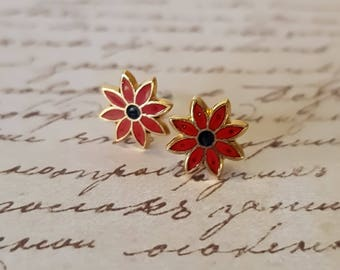 Red Enamel Flower Studs