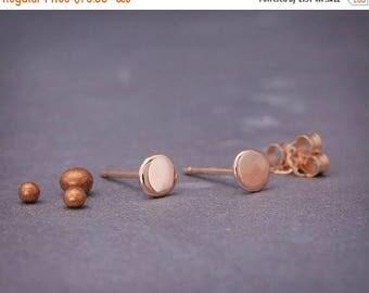 14K Rose Gold Organic Stud Earrings   Handmade solid 14k rose gold nuggets earrings in polished style 4mm 5mm 6mm 7mm Stud Earrings