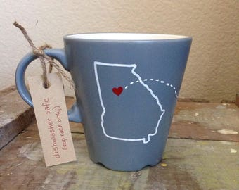 Long Distance Girlfriend Mug with States or Countries. Custom Long Distance Girlfriend Gift. Gift for Girlfriend. Gift for Her Gift under 25