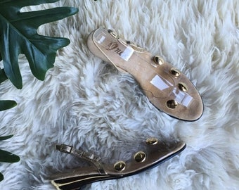 Summer SALE Vintage 60's Shoes, Size 8 Gold and Clear Slingback Heels, Polka Dot Vinyl Sandals, ONEX 1960's 60's Mod Shoes, Spring Summer Ki