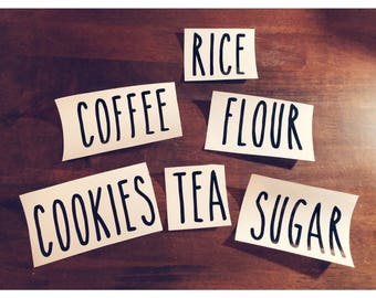 Rae Dunn Inspired Labels - 1 or 10 pack - Any Word - Rae Dunn Decals - Kitchen Labels - Coffee Tea Flour Labels - Kitchen Stickers