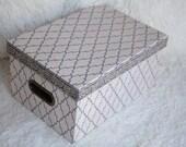 Tri-Coastal Paper Box, Gray, cardboard box, office organizer