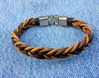 Mens Leather Bracelet With Secure Interlocking Clasp Gift For Him Boyfriend Gift Under 20 Gift For Men Father's Day Gift CS-16