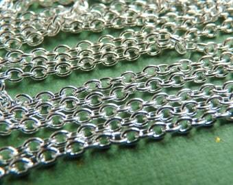 1 m chain * FINE * shiny silver color