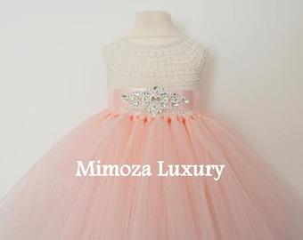 SALE Blush Flower girl dress, blush peach tutu dress princess dress, blush wedding tulle dress, hand knit tutu dress in blush peach pale pea