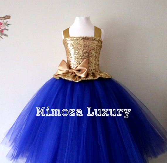 Gold & Royal Blue Flower Girl Dress, Gold sequin bridesmaid dress, Gold flower girl gown, bespoke girls dress, royal tulle princess dress