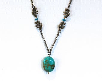 Turquoise Pendant Necklace Antique Brass Finish Pendant Necklace with Leaf Charms and Turquoise Beads