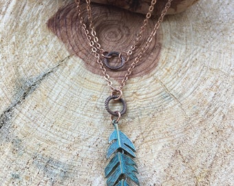 Botanical Necklace Duo, Layering, Palm Leaf, O Necklace