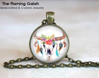 BOHO SKULL Pendant • Be Wild Quote • Floral Boho Skull • Ram Skull and Feathers • BoHo Jewellery • Gift Under 20 • Made in Australia (P1398)
