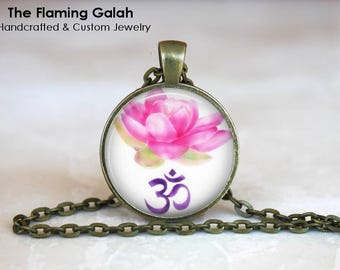 LOTUS and OM Pendant • Watercolour OM • Water Colour Lotus Flower • Gift for a Yogi • Gift Under 20 • Made in Australia (P1409)