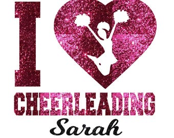 CUSTOM I Heart Cheerleading Iron On Decal