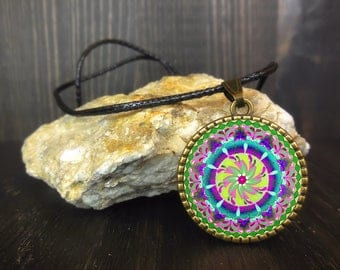 Sacred pendant, mandala jewelry cabochon, energy clearing, Valentine's day gift idea under 10 dollars girls and women, protection necklace.