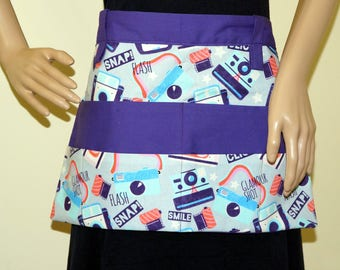 Vendor apron - Teacher apron with pockets - Photographer themed print
