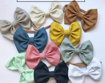 Choose 3: Solid Set - baby bow - newborn headband - bow headband