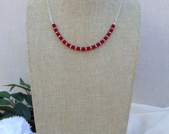 Red Glass and Silver Necklace     Summer Necklace