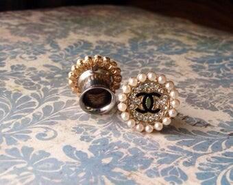CC chanel logo pearl rhinestone button plugs size 00g