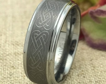 Size #9 -Celtic Knot Tungsten Wedding Ring, Personalize  Custom Engrave Tungsten Ring, Men's Wedding Ring, Free Engraving