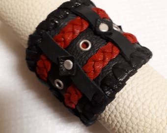 leather bracelet,genuine leather,black and red, black red bracelet,with riveds,with eyeletts,with push button,western,country,boho,rocker,