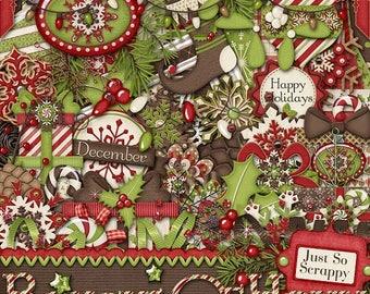 On Sale 50% Digital Scrapbooking,Christmas, Holidays, Boughs Of Holly Digital Scrapbook Kit , Scrapbooking