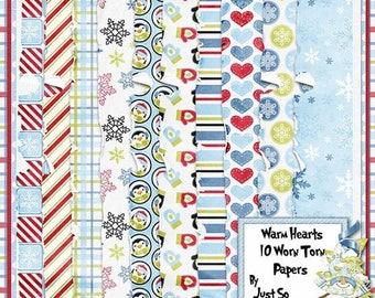 On Sale 50% Warm Hearts Digital Scrapbook Kit Worn and Torn Papers - Digital Scrapbooking