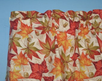 "67"" wide 16"" long Fall Leaves Brown Orange Harvest Season Window Valance …"