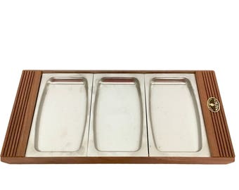 Mid-Century Modern Walnut & Stainless Relish Tray - Never Used
