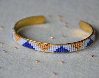 Woven Bangle Bracelet: Blue and gold