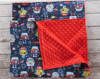 Baby Blanket 30X36, Outerspace Robots Flannel and Minky Dot Toddler Comfort Blanket, Ready To Ship