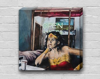 Wonder Woman Needs Coffee - Superhero Wonder Woman 10x10 inch Art Canvas Print