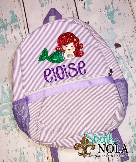 Mermaid Seersucker Backpack/Diaper Bag, Seersucker Diaper Bag, Seersucker School Bag, Seersucker Bag, Diaper Bag, School Bag, Book Bag, Bac