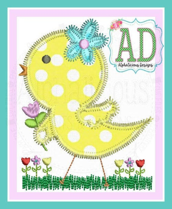 Spring Chick Applique, Easter Chick Applique, Chick Applique, Baby Chick Shirt, Easter Chick, Easter Chick Shirt, Girl Easter Shirt