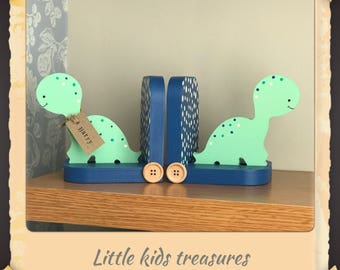 DINOSAUR chunky wooden bookends hand painted, personalised by Little kids treasures