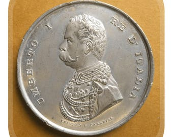 Rare 1884 Italian Exhibition Medal Held In Turin. Depicting King Umberto Ist.