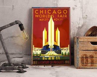 Chicago World Fair, 1933, Century of Progress, Vintage Poster, Advert, ArtHangar, Vintage Travel Poster, Print