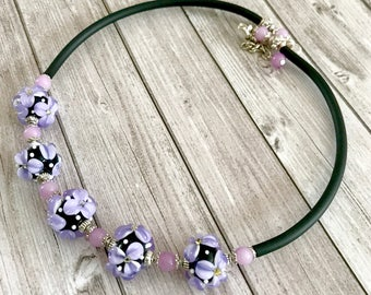 Purple black handmade lampwork flower necklace -  Bright jewelry -statement Glass Beaded Necklace - Lampwork Jewelry - Gift for Her