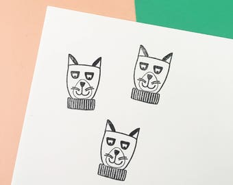 Rubber Stamp, Laser Engraved Stamp, Cat Stamp, Cat Lover Stamp, Fun Stamp for Crafts, Hand Drawn Stamp, Holiday Stamp, Cat in a Sweater
