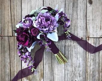 Boho Bouquet, Plum and Iris Bouquet, Succulent Bouquet, Wildflower Bouquet, Bridal Bouquet