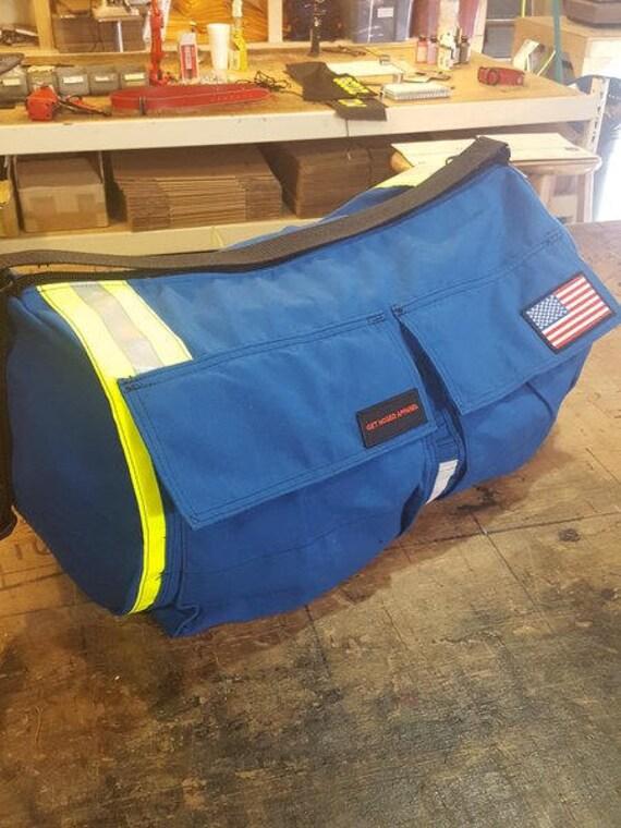 Bunker gear 2 Pocket Blue w/ Yellow Silver reflective strap. Fireman, firefighter, duffle bag