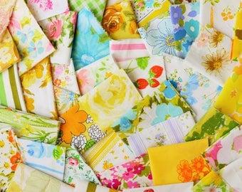 12 oz. Vintage Sheet Scrap Fabric Bundle. Multi Color. Stash Builder. Floral. Upcycle. Destash. Retro. Quilt Top Kit. Scrap Pack 12.