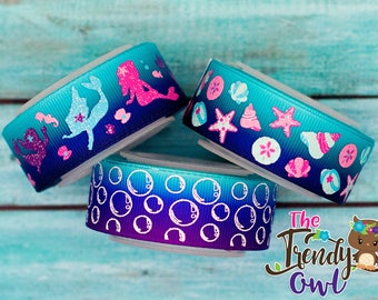 "7/8"" Glittered Mermaid, Sea Shells, and Bubbles Prints - U.S. DESIGNER - High Quality Grosgrain Ribbon - 5yd Roll"