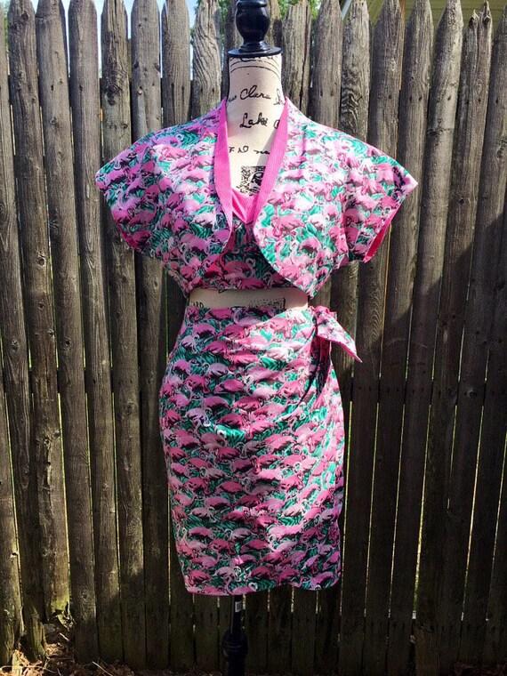 Pink Flamingo Four-Piece Pinup Playsuit, Skirt, and Bolero